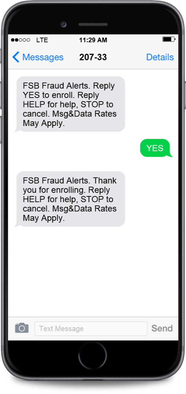 enrollment text message on iphone - franklin savings bank